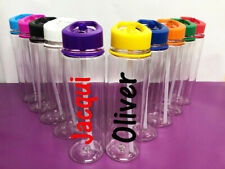 Personalised Custom Clear Water Drink Bottle Colour Lid AR Cena Name Gym Sport