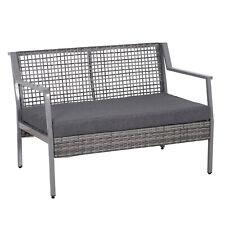 2-seat Rattan Wicker Loveseat Bench Outdoor Patio w/ Cushions