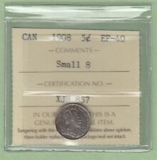 1908 Canadian 5 Cents Silver Coin - Small 8 - ICCS Graded EF-40