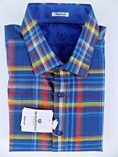 NWT Men's Bugatchi Uomo Shaped Fit Long Sleeve Shirt Multicolor Striped Sz XL