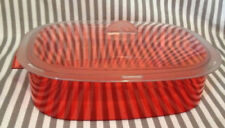 Tupperware Acrylic Serving Tray W/ Lid Red/ White