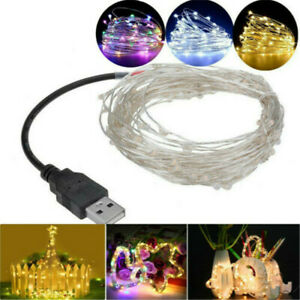 USB Plug In 50/100 LED DIY Micro Copper Wire String Lights Party Fairy Light UK
