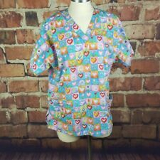 Scrub Wear Womens Top Size Large Pastel Flowers Hearts Medical Pockets