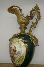Antique Victorian 1800's Ewer bras Mantle Vase Hand Painted Flowers green Glass