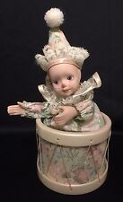 Vintage Animated Porcelain Clown In Drum Music Box Plays 'Cabaret ' Clown Moves!