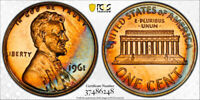1961-S Lincoln Memorial Cent Penny 1c PCGS PR65 RB  AWESOME RAINBOW TONING