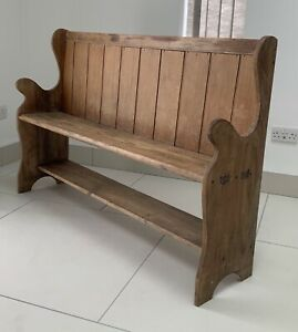 Antique Victorian Pine Settle - Church Pew - Bench - Vintage - Collectable
