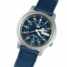 Seiko 5 Men's Snk807 Automatic Stainless Steel Watch With Blue Canvas Band Gift