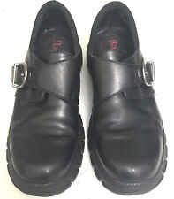 Bass Womens Black Leather Loafer Size 6 M Monk Strap Buckle Work Comfort