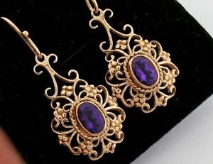 E016 - LOVELY 9ct SOLID Rose Gold Natural Amethyst Earrings Filigree Dangle Drop