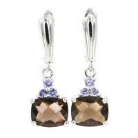 EARTH MINED 10X8MM SMOKY QUARTZ & TANZANITE RARE GEM STERLING SILVER 925 EARRING