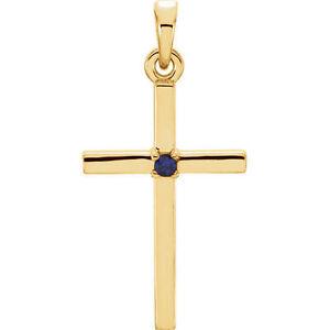 Blue Sapphire Cross Pendant In 14K Yellow Gold