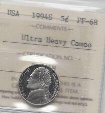 **1994S** USA, Five Cent, Jefferson Nickel, ICCS Graded **PF-68 UHC**