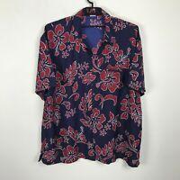 King Kameha Hawaiian Shirt Size 5XL Blue Red Floral Aloha Lightweight Polyester