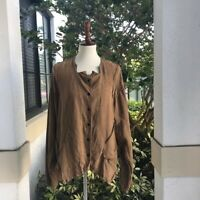 Cynthia Ashby Lagenlook Brown Linen Blazer Size 1 fit loose can fit a size Large