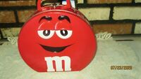 M&M RED large collector tin lunch box lunchbox hinged handle clasp