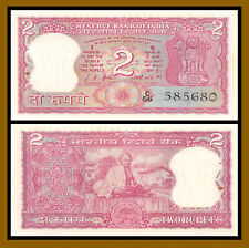 India 2 Rupees, 1967-1970 P-67a Sig #76 Ghandi Unc with Pinholes