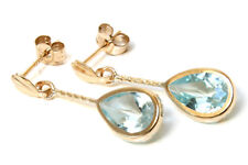 9ct Gold Blue Topaz Teardrop short drop earrings Gift Boxed Made in UK