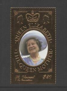 ST. VINCENT 2000 QUEEN MOTHER GOLD FOIL STAMP