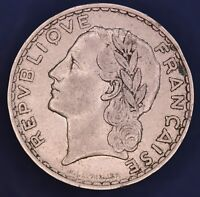 1933 French France 5 five francs coin Laureate head left *[13095]