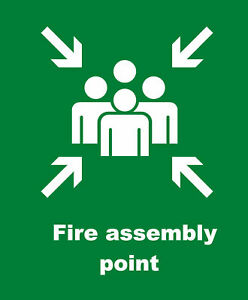FIRE ASSEMBLY POINT - A4 HEALTH AND SAFETY SIGN BOARD 200mmx300mm