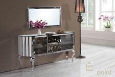Chrom / Silber Spiegel Konsole Shabby Barock Sideboard