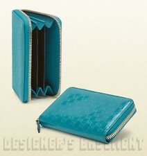 GUCCI turquoise MICRO GUCCISSIMA Leather POUCH Case mini wallet NIB Authentic!