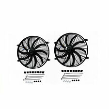 "2Pcs 16"" 12V PULL/PUSH RADIATOR ELECTRIC THERMO CURVED BLADE FAN & MOUNTING KIT"