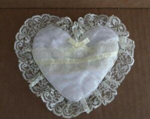 Pale Yellow Heart Shaped Ring Bearer Pillow