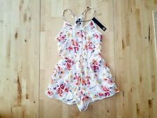 House of Harlow 1960 Floral Tie Tassel Romper White Pink Yellow Flowers Sz Small