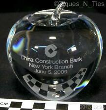 2009 Tiffany Crystal Apple Paperweight Advertising China Construction Bank (FF)