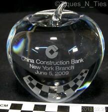 2009 Tiffany Crystal Apple Paperweight Advertising China Construction Bank (FF)
