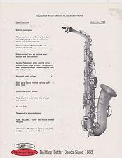 AD SHEET #2511 - 1970s BUESCHER MUSICAL INSTRUMENT - ARISTOCRAT ALTO SAX #1023