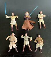 Lot of 6 1999-2004 Star Wars Action Figures - Jedis - Obi-Wan Kenobi, Mace Windu