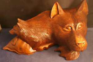 """Beautiful Hand Carved Woolf  Head With Puppy  In Suar Wood 13"""" x 8"""" Inches  Wide"""