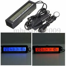 3 in1 Car Auto LCD Digital Clock Thermometer Temperature Voltage Meter Monitor