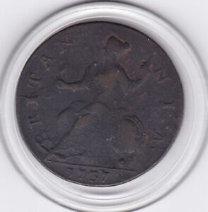1737   King  George   II    Half  Penny   Copper  Coin