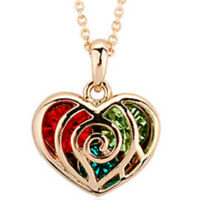 Cute Colourful Rose Gold Finish Heart Pendant Necklace Jewellery UK red green