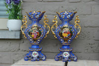 PAIR antique French vieux paris porcelain hand paint romantic victorian scene