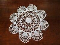 "Antique hand crocheted 11"" diameter white round doily"