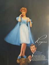 1959 redhead in Rogers Bachelor blue gown peignoir lingerie fashion ad
