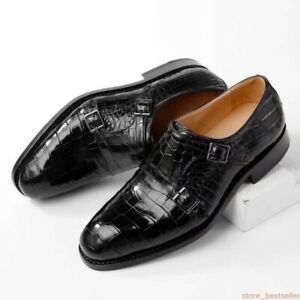 Men Shoes Crocodile Alligator Skin Leather Double Monk Strap Dress #SM0308