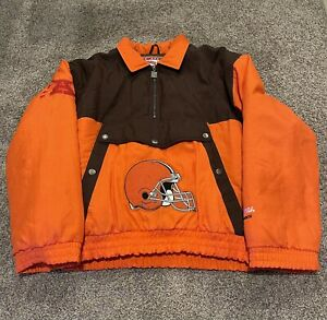 Vintage Cleveland Browns Men's XL Nutmeg by Campri Spellout Puffer Coat NFL 1990