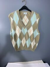 Benetton Mens Medium Italy Size 48 Argyle Cotton Sweater Vest