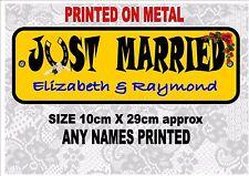Fantaisie Just Married Numéro De Plaque Personnalisé Jour Mariage Jeunes Mariés