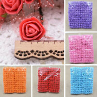EG_ LX_ 72Pcs 2.5cm Mini Foam Gauze Rose Flower Head DIY Wedding Party Home Deco
