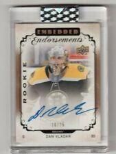 2018-19 Clear Cut Hockey Embedded Endorsements Rookie Dan Vladar Bruins 16/25