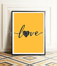 Quote Love Heart Mustard Print Poster Bedroom Living Room Wall Decor Fashion Art