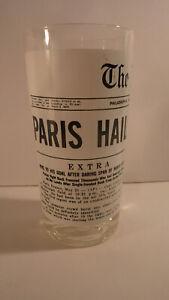 """Philadelphia Inquirer front-page glass tumbler: """"Paris Hails Lindbergh"""""""