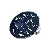 ATTRACTIVE ENAMELLED SWALLOW BIRD DARK BLUE SCARF RING IN PRESENTATION BOX